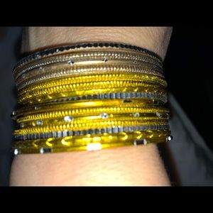 Three sets of gold bangle bracelets from India